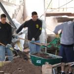 The Saint Rose baseball team volunteering in Prattsville