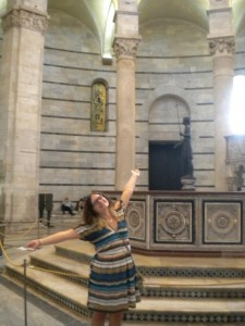 Me in the Basilica next to the Leaning Tower of Pisa! We saw so MANY churches in Italy!