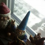 My gnomes getting just as excited as I am about the snow! (but really though, I love it!)