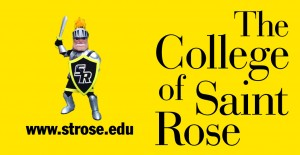 Saint Rose banner in the outfield of 2013 ValleyCats home games.