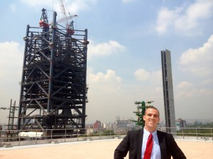 Torre Mayor's Terrace overlooking the  Bancomer Construction Project.  (Photo Credit: Oren Rasowsky)