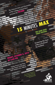 15 Minutes Max 2013 poster designed by Saint Rose alumna J. Walker.
