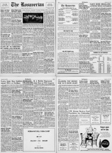 Four pages from the September 25, 1952 edition of the student newspaper from the Saint Rose Archives newspapers collection