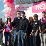 "The Golden Notes, Saint Rose's mixed A Capella Group, performed Destiny Child's ""Survivor""  at the Making Strides Against Breast Cancer Walk. (Photo courtesy of Chris Lovell)"