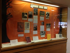 Haunted Saint Rose display located in the Neil Hellman Library