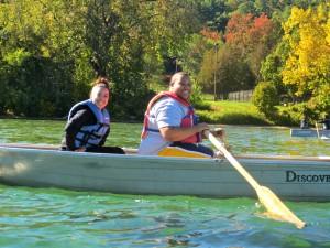 Students Row Boating at Lake George
