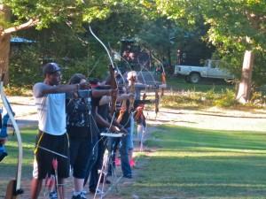 Students doing archery