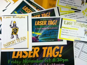 Event advertisement and passport on display while tabling for the Laser Tag event.  (Photo credit: Michelle Flores)