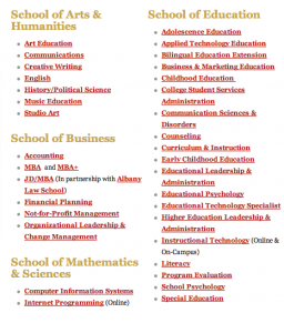 The Graduate Degrees offered at The College of Saint Rose!  Photo Screen-Shot from the Saint Rose Website (http://www.strose.edu/admissions/graduateadmissions/degreesprograms)