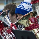 Saint Rose student, Jacob Barkman, performing alongside other members of Tuba Christmas.