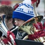 Jacob Barkman, member of the Albany Tuba Christmas, plays at the Empire Plaza tree lighting.