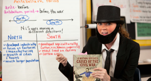 Kyleen becomes Abraham Lincoln to introduce the Civil War unit to her fifth grade class!