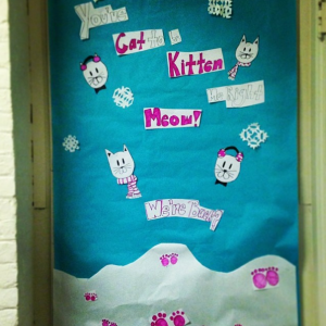 "New Bulletin Board for the new year - ""You've Cat to be Kitten me right Meow - We're Back?""  Photo taken by Genevieve Diller"