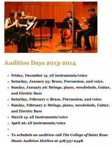 The Music Audition Dates for the 2014 academic year! Schedule yours today! Photo taken by Genevieve Diller.