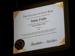 Fallon doctorate1 300x225 Good to Know: Jimmy Fallon '09, Saint Rose was his muse