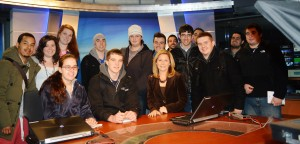 Feeling official with my class at Time Warner Cable News