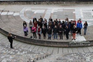 The Chamber Choir singing at the ruins of a Roman Amphitheater!  Photo taken by Michael Levi.