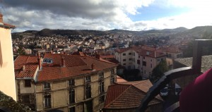 The view of Le Puy from the top of a giant hill to a cathedral. Photo take. By Genevieve Diller.