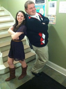 Matt and Jessie before Zone 4 Staff Bonding! (And he's rocking a sweater vest!)