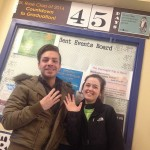 """""""45 days left! Seniors Joe Lancelot, communications major, and Jessica Parker, chemistry, helping with the countdown today."""""""