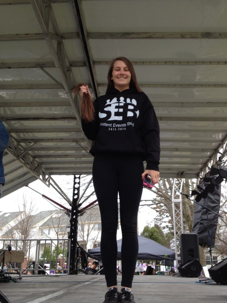 "My best friend Marissa donated over 10"" of hair at Relay for Life!"
