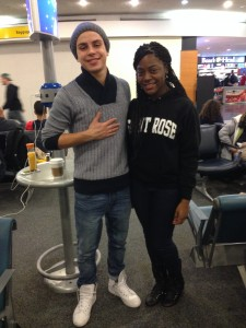 Jake T. Austin and I waiting for our flight.