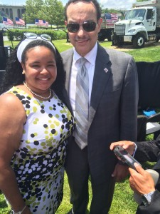 Mayor Gray and I at the Georgetown Waterfront Park waiting for President Barack Obama.