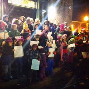 Some of my students from one elementary school singing at a Tree Lighting event in December. Photo taken by Albany City School District.