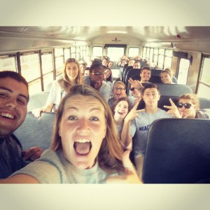 Selfies on the bus before Reach Out Saint Rose, Fall 2013!