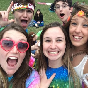 ​Group of RAs gathered on the quad during Rose Rock 2014.