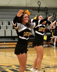 Sarah (left) doing what she loves.