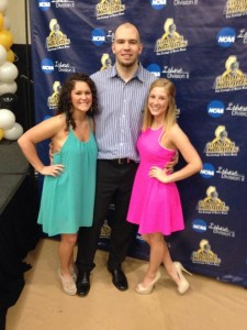 Sarah (left) and former teammates from last year Dominykas Milka (center), and Stephanie Staudle (right)