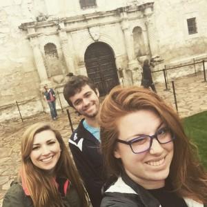 Eric, Ellen, and I visiting The Alamo- it was raining, a lot.
