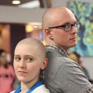 Alex and his good friend Carly after shaving their heads for St. Baldrick's Day 2015!