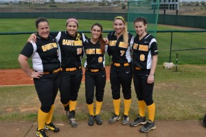 Seniors on the team: Anna Carey (far left), Alexis Williams (second to your left), Kari Bird (center), Ashlee Frazier (second to your right) , and Marisa Bird (far right)
