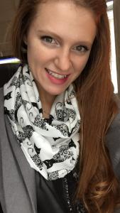 Saint Rose Area Coordinator Julianna Hart (Note: cat scarf)