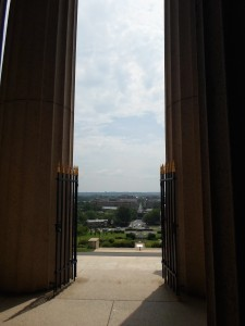 Casual midday's view to the west, looking out over Alexandria from the entrance of the George Washington Masonic National Memorial.