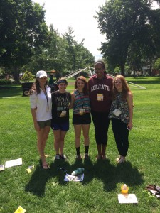 Orientation Group enjoying the beautiful quad! (Nice Panic! shirt)
