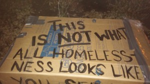 Part of the building of our cardboard structures was including some messages about homelessness to get passers-by thinking and talking.