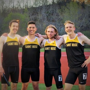 Saint Rose 4x8 relay team Eamonn, Alex Triana, Krys Lotocky, and Jon Cahill (From left to right)