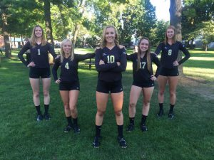 Rachel (10) and her four senior volleyball teammates Jen (1), Sammi (4), Erica (17), and Maryellen (8)