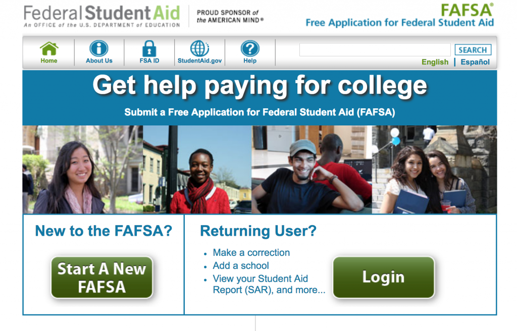 Screen shot of the FAFSA website.