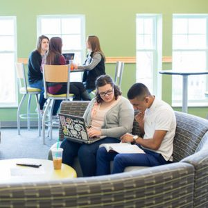 Students studying in a common area.