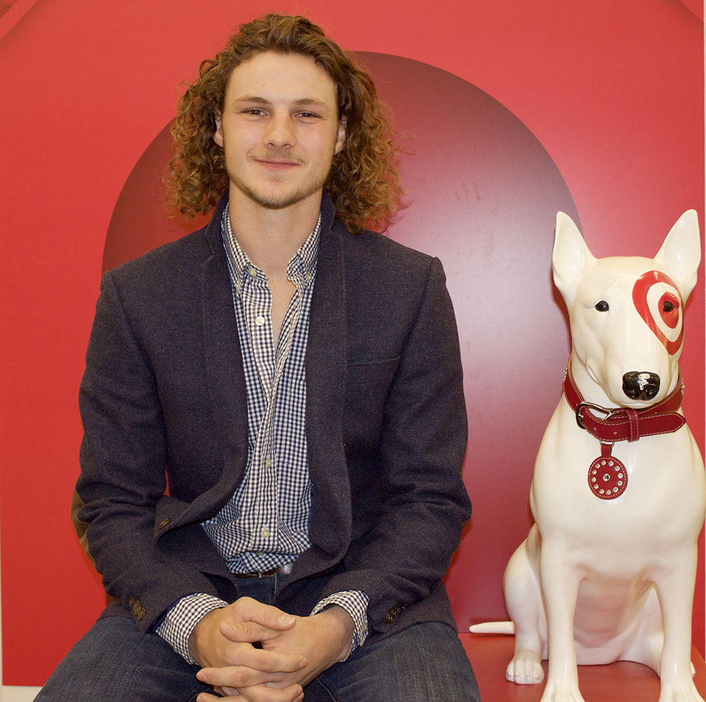 Caleb next to the target dog
