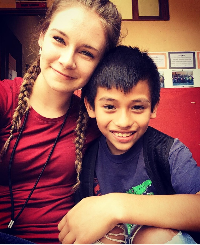 Mahoney with her sponsor student Luis