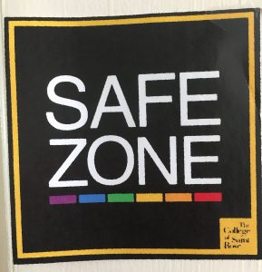 Safe zone sign on Saint Rose campus