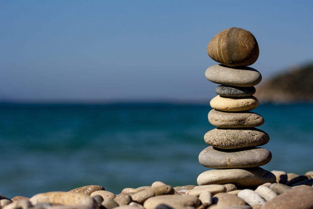 tower of rocks to represent balance