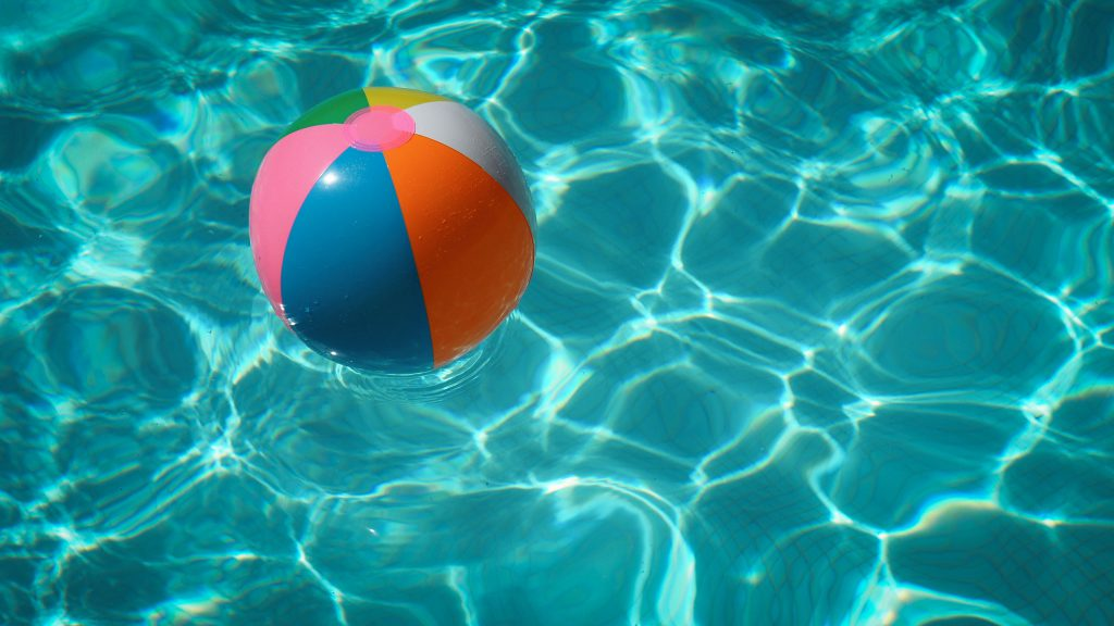 a beach ball in the pool