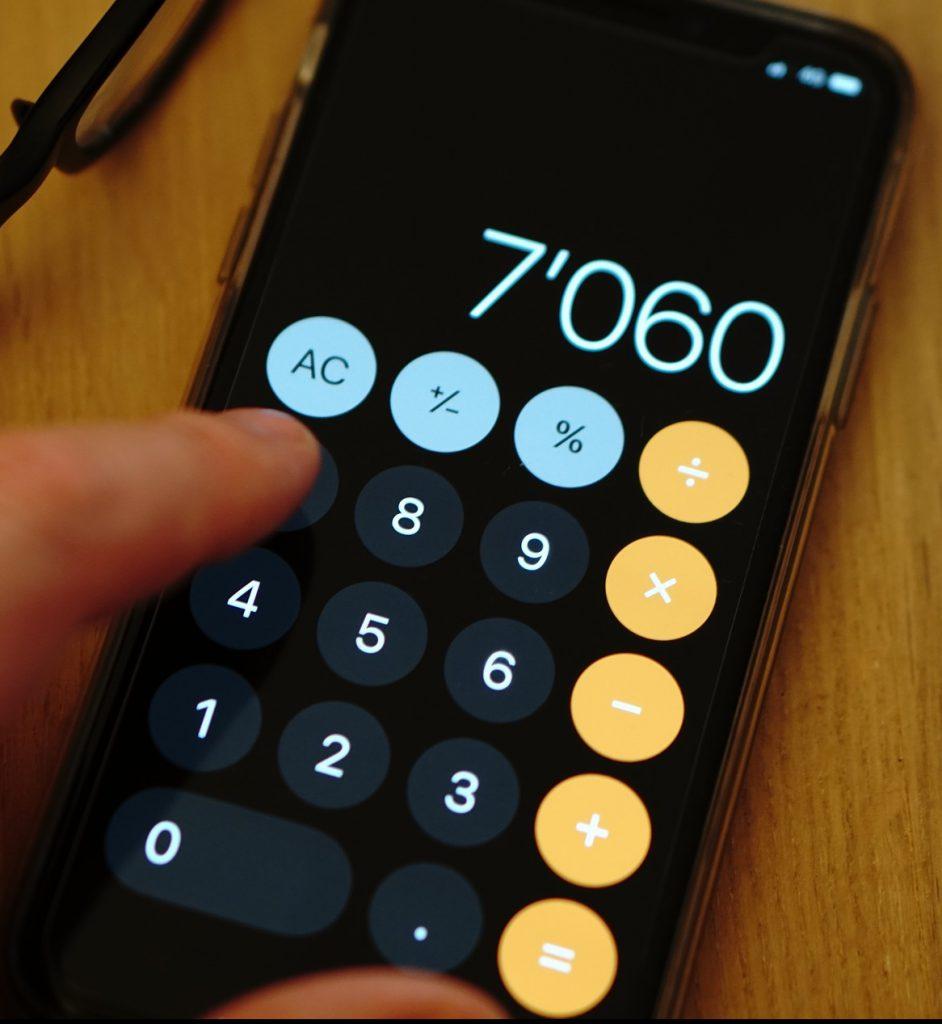 calculator on a smartphone
