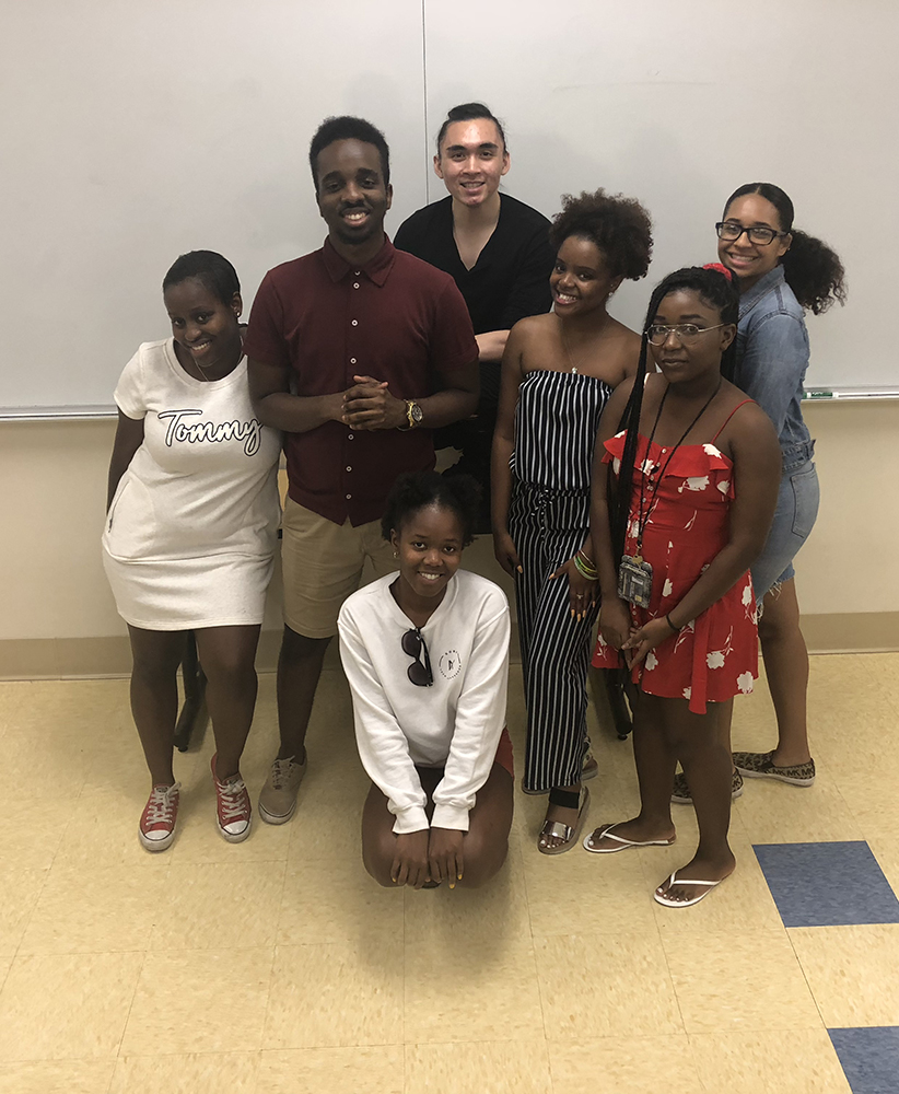 Black student union members hanging out in classroom